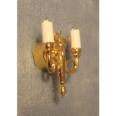 Brass Double Candle Wall Light