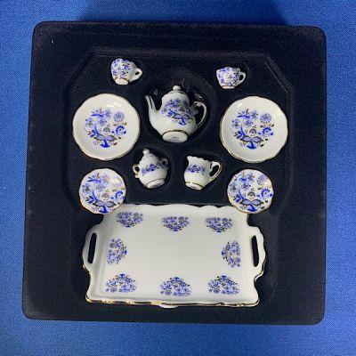 Tea Set. Blue/Gold