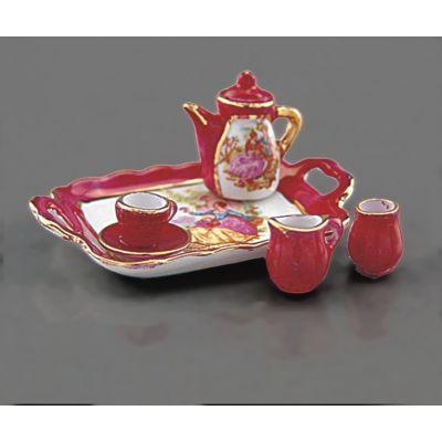 Red Lustre. Tea Set on Tray