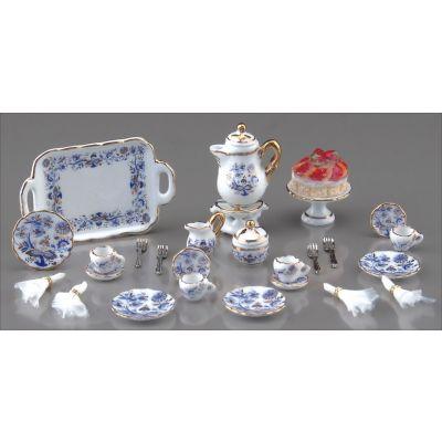 Tea Set 25pc Blue & Gold