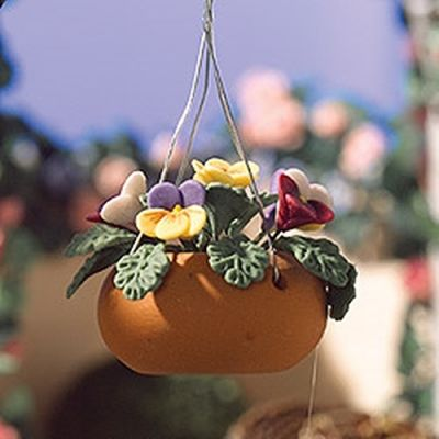 Hanging Basket with Coloured Pansies.