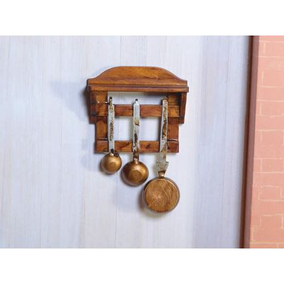 Wooden Shelf with Pans (W)