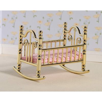 'Brass' Cradle & Pink Check Mattress