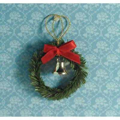 Christmas Wreath, Bow & Bell  45mm diameter
