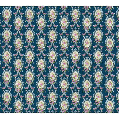 Blue Victorian Cameo Wallpaper