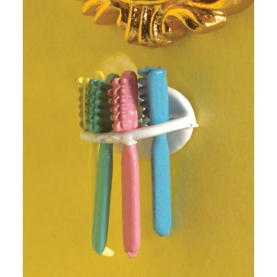 Four Toothbrushes & Holder