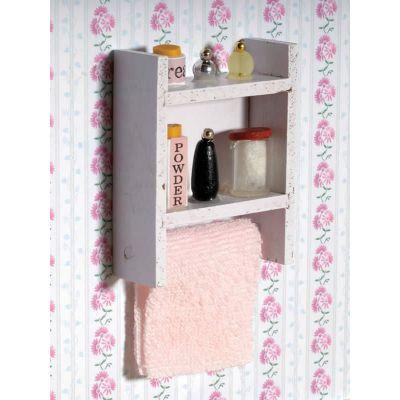 White Shelf with Bathroom Supplies