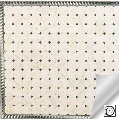 Luxury White & Black 'Marble' Flooring  card,   330 x 435mm