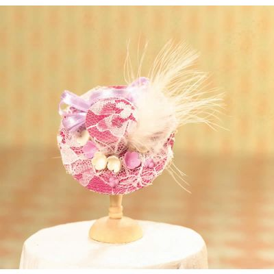 Magenta Lace & Feather Trim Hat