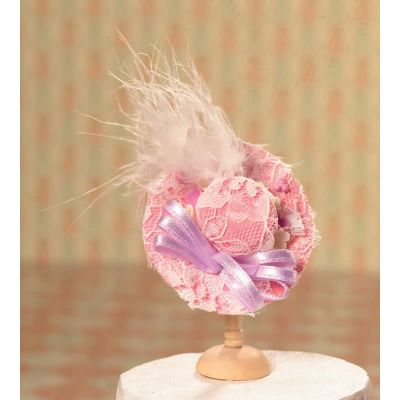 Pink Hat with Lace & Feather Trim