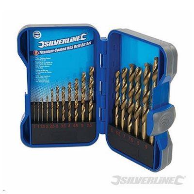 Titanium-Coated HSS Drill Bit Set 17pce 1 - 9mm