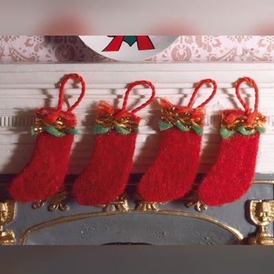 Felt Christmas Stockings, 4 pcs