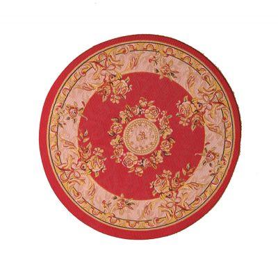Rich Red Circular Rug