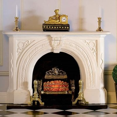 'Carved Stone' Fireplace & basket (PR) , bulb and accessories not included