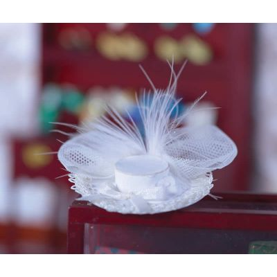 White Hat with Lace Trim
