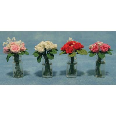 Roses in Glass Vase 4asst (price each)