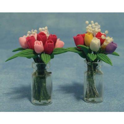 Tulips in Glass Vase 2asst (price each)