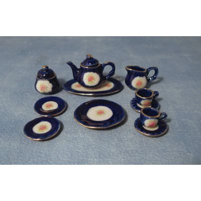 Blue Rose Tea Set & Tray