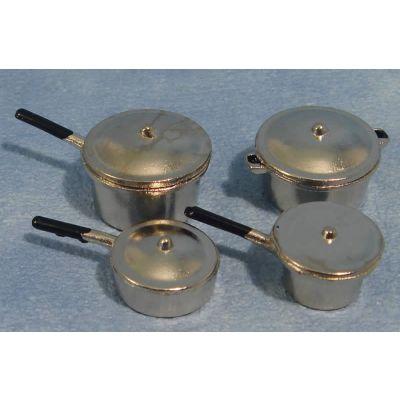 Metal Saucepans (Pk 4 Asst)