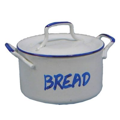 Metal Breadbin white Enamel