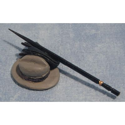 Hat, Gloves & Stick