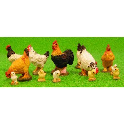Set of 13 Chickens