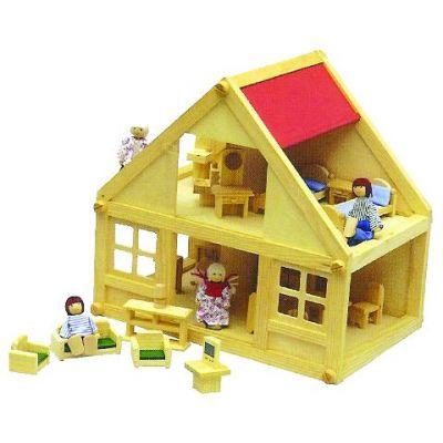Childrens Dollshouse with Furniture & Dolls