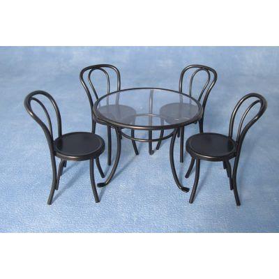 Black Metal Table and Chair Set