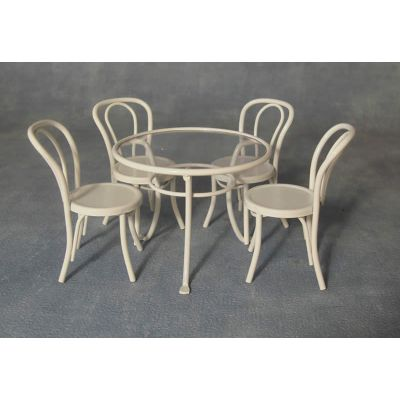 White Metal Table and Chair Set