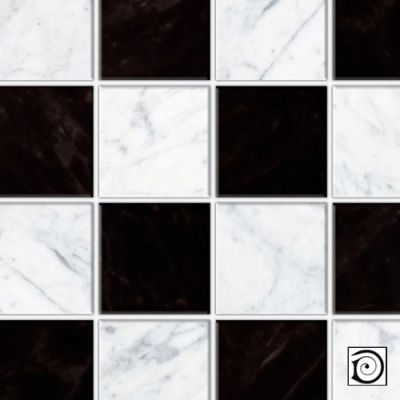 Black and white square tiles,  Embossed A3 card