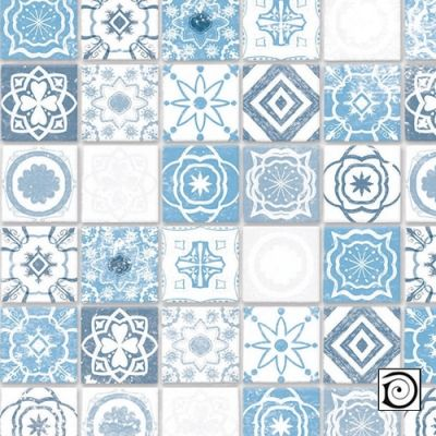 Mediterranean Antique Azure Tiles,  Embossed A3 card