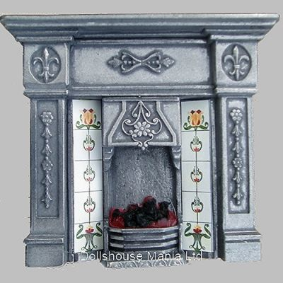 Lit Fireplace Polished Cast Iron