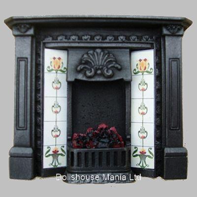 Lit Fireplace Cast Iron