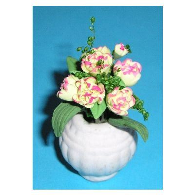 Pink & White Flowers in White Vase