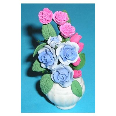 Blue & Pink Flowers in White Vase