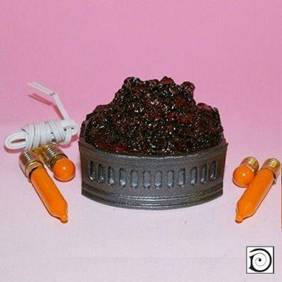 Lit Fire grate/ basket with coals, inc flicker unit