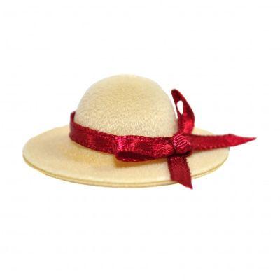 Ladies Hat with Dark Red Ribbon