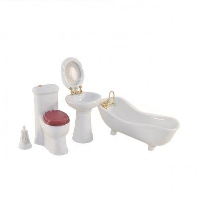 Bathroom set. White porcelain, 5pcs