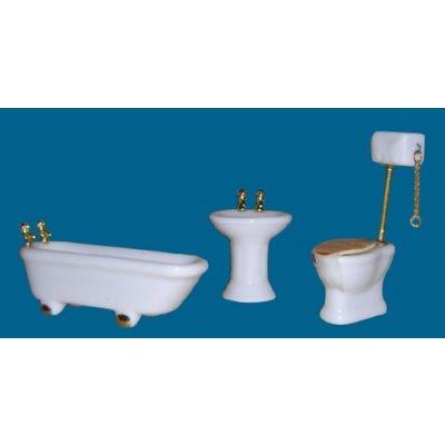 Ceramic Bathroom White/Gold Trim (1/24th)