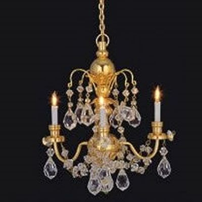 3 Arm Real Crystal Chandelier
